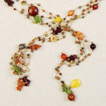 Carnelian and pearls necklace, 'Fruit Rainfall'
