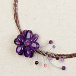 Amethyst and garnet wrap necklace, 'Purple Blossom'