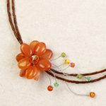 Carnelian and peridot wrap necklace, 'Orange Blossom'