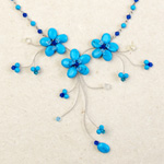 Reconstituted turquoise flower necklace, 'Azure Sisters'