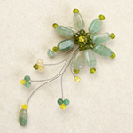Quartzite and citrine flower brooch, 'Green Blossom'