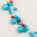 Turquoise and ceramic necklace, 'Sky Drops'