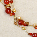 Carnelian cluster necklace, 'Orange Marshmallows'