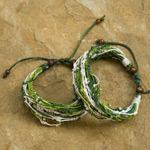 Nylon and raintree wood bracelet, 'Spinach Punch' (set of 2)