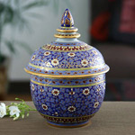 Benjarong porcelain jar, 'Blue Dream'