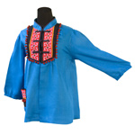 Linen and cotton tunic, 'Tribal Azure'
