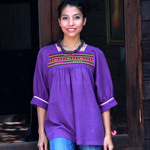 Cotton blouse, 'Tropical Purple'