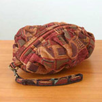Cotton cosmetic handbag, 'Cherry Cubism'