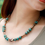 Grossularite garnet and turquoise necklace, 'Heart Energy'