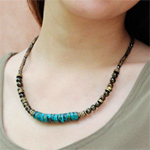 Turquoise and grossular garnet necklace, 'Physical Balance'