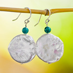 Pearl and turquoise dangle earrings, 'Sky Wisdom'