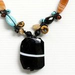 Onyx and carnelian necklace, 'Auspicious'