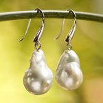 Pearl and silver earrings, 'Baroque Style'