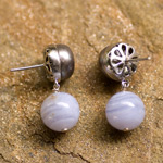 Agate and pearl dangle earrings, 'Sky Temple'