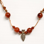 Carnelian and silver necklace, 'Zenith'
