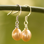Pearls and silver earrings, 'Pink Eggs'