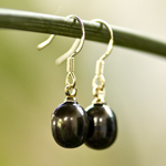Pearls and silver earrings, 'Grey Eggs'