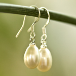 Pearls and silver earrings, 'White Eggs'