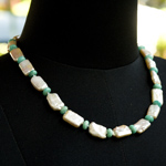 Amazonite and pearl necklace, 'Blue majesty'