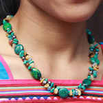 Chrysocolla and gemstones necklace, 'Jungle Festival'