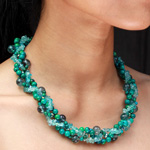 Chrysocolla and fluoride necklace, 'Green Fairy'