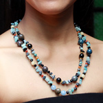 Mixed gemstones necklace, 'Atlantis Chic'