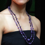 Amethyst necklace, 'Lavender Deluge'