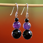 Amethyst and agate earrings, 'Soothing Violet'