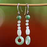 Jade and silver earrings, 'Green Oracle'