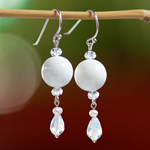 Jasper and pearl earrings, 'White Orbs'