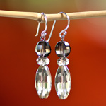 Lemon and smoky quartz earrings, 'Thai Girls'