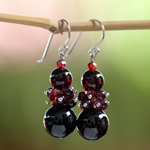 Garnet earrings, 'Scarlet Elegance'