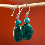 Chrysocolla earrings, 'Jungle Festival'