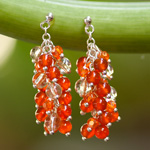 Carnelian and citrine earrings, 'Oranges'