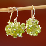 Peridot cluster earrings, 'Orchid Fever'