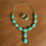 Turquoise and vermeil jewelry set, 'Royal Blue'