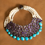 Amethyst and turquoise necklace, 'Purple Bees'