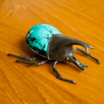 Turquoise and silver brooch, 'Hercules Beetle'