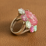 Ruby, jade and amethyst ring, 'Mountain Bouquet'