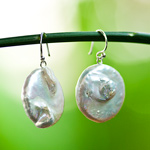 Pearl dangle earrings, 'Sea Coins'
