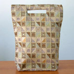 Cotton handbag, 'Ginger Cubism' (tall)