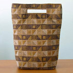 Cotton handbag, 'Cocoa Cubism' (tall)