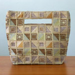 Cotton handbag, 'Ginger Cubism' (small)
