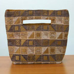 Cotton handbag, 'Cocoa Cubism' (small)