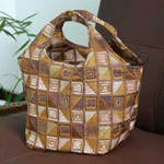 Cotton handbag, 'Cocoa Cubism' (Circle)
