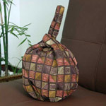 Cotton handbag, 'Chocolate Cubism' (loop)