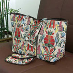 Cotton handbag and purse, 'Floral Mirage'