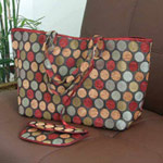 Cotton handbag and purse, 'Bubbling Cherries'