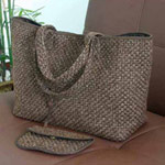 Cotton handbag and purse, 'Brown Mesh'
