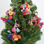 Cotton and wood ornaments, 'Lisu Colors' (set of 4)